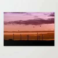Wind power plant at dawn Canvas Print