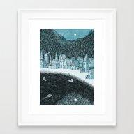 'Mountain Town' Framed Art Print