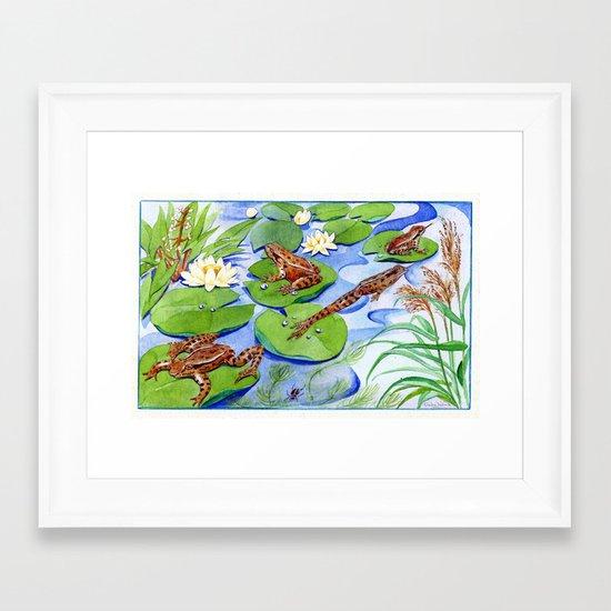 Four Frolicking Frogs Framed Art Print
