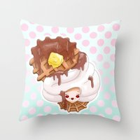 Doll faced syrup covered waffle Throw Pillow