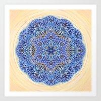 Blue Morocco Tile Mandala Art Print