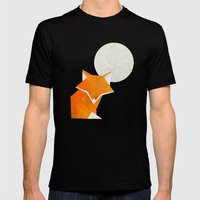 Origami Fox and Moon Mens Fitted Tee Black SMALL