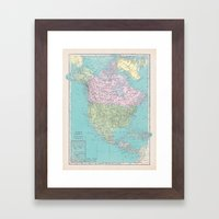 Vintage North America Ma… Framed Art Print