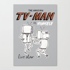 tv man vs himself Canvas Print