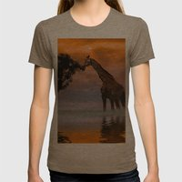 Giraffe At Sunset Womens Fitted Tee Tri-Coffee SMALL