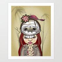 Wearing my lucky skull Art Print