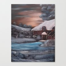 Chocolate Box Cottage in Winter Canvas Print