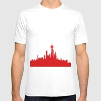 Seattle Skyline Silhouet… Mens Fitted Tee White SMALL