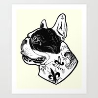 French Bulldog Tattooed Dog Art Print