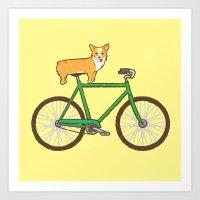 Corgi On A Bike Art Print