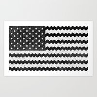 Black Zig Zag Flag Art Print