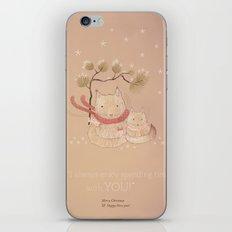Christmas creatures- Kitties in love iPhone & iPod Skin