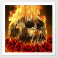 Skull, Roses And Fire Art Print