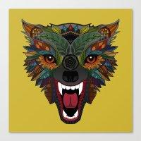 wolf fight flight ochre Canvas Print