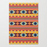 Navajo blanket pattern- orange Canvas Print