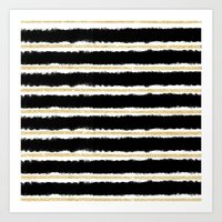 Chic Black Watercolor Go… Art Print