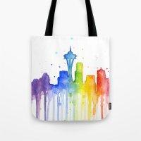 Seattle Rainbow Watercol… Tote Bag