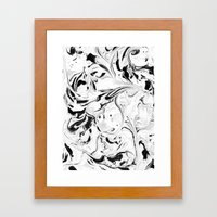 Black and White Marble Framed Art Print