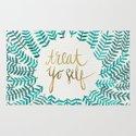Treat Yo Self – Gold & Turquoise Rug