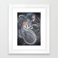 the Siren and the Seahorse art print  Framed Art Print