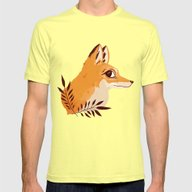 Fox Familiar Mens Fitted Tee Lemon SMALL