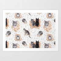 Le Chat Toile De Jouy Art Print