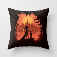 Traveling with the Queen Throw Pillow