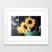 Sunflowers in my kitchen Framed Art Print
