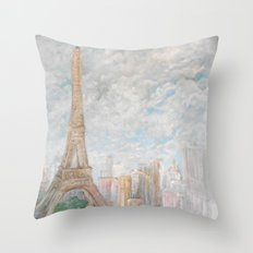 Poetic Paris Throw Pillow
