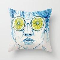 Lemon Lady Throw Pillow