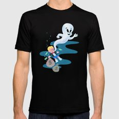 Where do friendly ghosts come from? SMALL Mens Fitted Tee Black