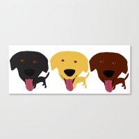 Labrador dogs black yellow chocolate 2 Canvas Print