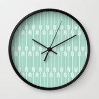 White Arrows on Mint Wall Clock