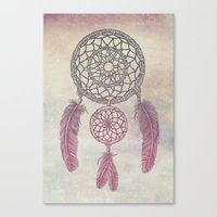 Double Dream Catcher (Rose) Canvas Print