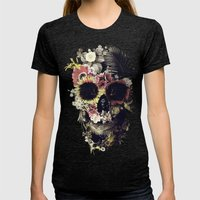 Garden Skull Womens Fitted Tee Tri-Black SMALL