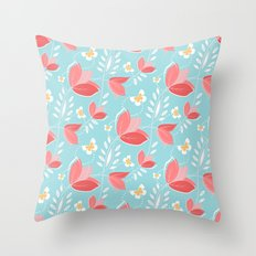 Romantic Chic Coral Retro Floral Pattern Turquoise  Throw Pillow