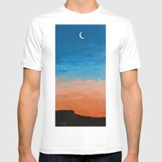 Pre-Dawn Moonrise, painting SMALL White Mens Fitted Tee
