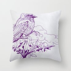 Purple Ink Bird Throw Pillow