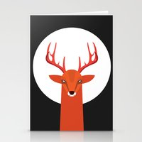 Deer And Moon Stationery Cards