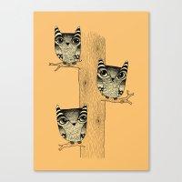 Owls (orange) Canvas Print