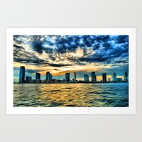 Jersey City sunset Art Print