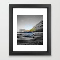 Girl & ocean Framed Art Print