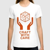 Craft With Care (Orange) Womens Fitted Tee White SMALL