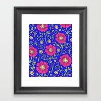 Cobalt Blue Floral Framed Art Print