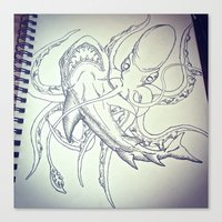 Octopus V. Shark  Canvas Print