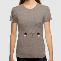 Frenchie Love Womens Fitted Tee Tri-Coffee SMALL