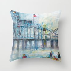 Altantic City, New Jersey - Roller Coaster - Ferris Wheel - Watercolor Painting Throw Pillow
