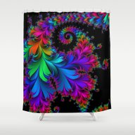 Rainbow Spiral Shower Curtain