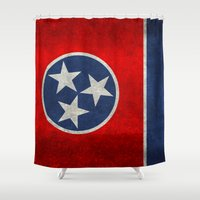 Tennessee State flag, Vintage version Shower Curtain