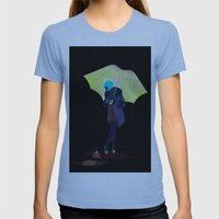 RAINY DAY FLOWER Womens Fitted Tee Athletic Blue SMALL